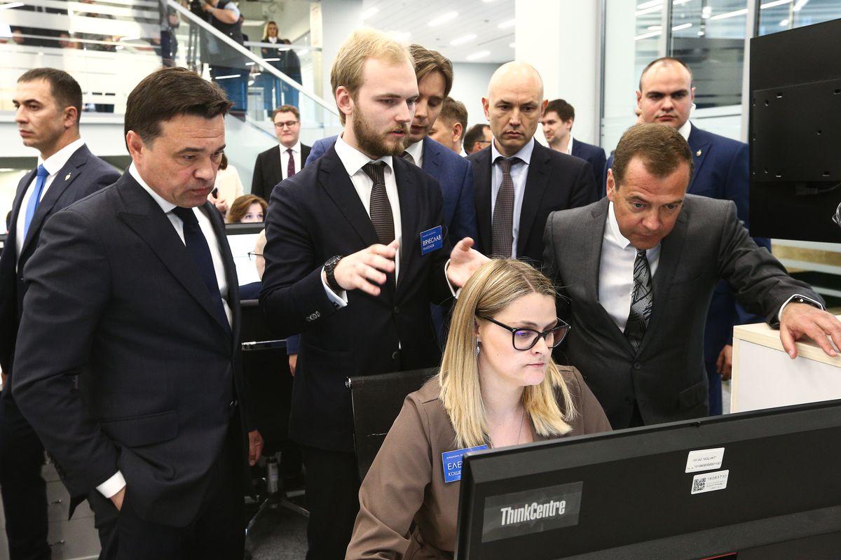 Андрей Воробьев губернатор московской области - Дмитрий Медведев осмотрел центр управления регионом в Московской области